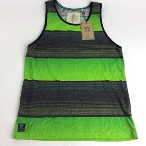 New PX Clothing Mens Green Tank Summer Shirt